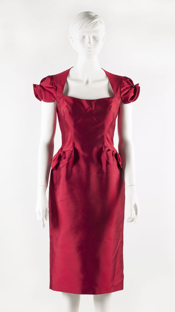 Red zibeline cocktail dress designed by Lorcan Mullany, Bellville Sassoon. BELUM.T4519.2 © National Museums Northern Ireland