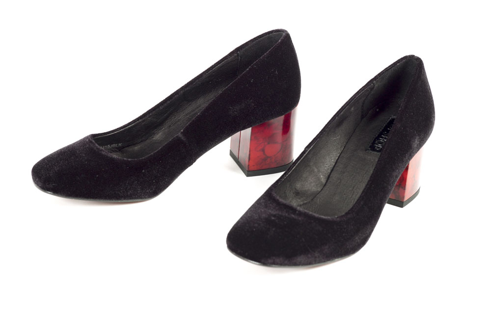 Black velvet and fake tortoiseshell pumps - purchased Topshop. BELUM.T4524 © National Museums Northern Ireland