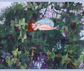 Makiko Kudo (Born 1978, Japan), I Overslept Until the Evening (2014) oil on canvas Copyright of The Artist, Courtesy: Wilkinson Gallery, London